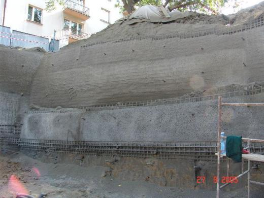 Strengthening of a slope preparing for construction of a commercial and apartment building